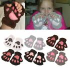 Sofe Women Winter Claw Gloves Fluffy Bear Paw Mittens Lady Half Finger GlovesNW