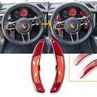 Red Carbon Fiber Paddle Shifter Extensions For 2016+ Porsche 911 Macan Panamera