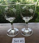 2 Etched Crystal Cut Wheat Wine 4-1/4