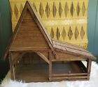 Handmade Wooden Nativity Manjor Stable Barn BIG Vintage Light Up Display