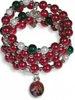 Green Red Bead Holy Family Nativity Of Christ Charm 7 1 2 inch Wrap Rosary