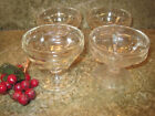 Set of 4 Vintage FOOTED DESSERT CUPS CLEAR GLASS PARFAIT ICE CREAM SUNDAE DISHES