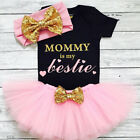 US 3PCS Newborn Baby Girl Clothes Romper Bodysuit+Tutu Skirt+Headband Outfit Set