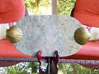 BEAUTIFUL ANTIQUE MARBLE CUTTING BOARD BRASS HANDLES SEA CLAM SHELL BEACH HOUSE