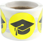 Graduation Cap Stickers 1 Inch Round Circle Dots 100 Adhesive Labels