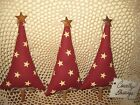 3 Primitive Country Christmas Fabric trees bowl fillers Handmade Home Decor