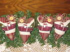 4 Handmade Christmas Santa Claus Old Red Truck Fabric hearts Home Decor