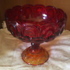 Vintage LE Smith Fenton Glass Ruby RED Pedestal Compote CANDY DISH
