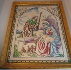 Vintage Jesus Mary Angels Nativity Framed Embroidery Wheeler 22 X 18 Wheeler