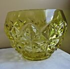 Vintage Mid Century Yellow Mt Vernon Imperial Glass Star Pattern Rose Bowl