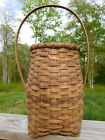 ANTIQUE NEW ENGLAND UNIQUE PRIMITIVE HANDWOVEN OAK-SPLINT BASKET-BENTWOOD HANDLE