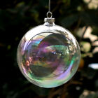 5 50pcs Iridescent Glass Hanging Ball Sphere Baubles Christmas Fillable with Lid