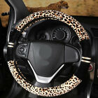 Leopard Print Fashionable Plush Universal Fit Car Steering Wheel Cover 15
