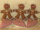 3 Gingerbread Ornaments Country Home Decor