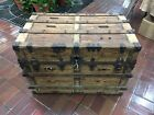 ANTIQUE STEAMER TRUNK VINTAGE VICTORIAN FLAT TOP RUSTIC WOODEN
