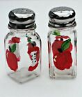 Hand Painted Red Apple Salt and Pepper Glass Shaker Set Country Kitchen Decor