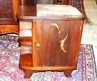 French Antique Art Deco Oak Marble Top Nightstand | Side Cabinet Lamp End Table