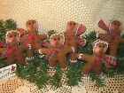 Set of 6 Christmas Gingerbread tree ornaments bowl fillers handmade Home Decor