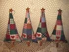 Set 4 Handmade patchwork fabric tree ornaments Bowl Fillers Country Home Decor