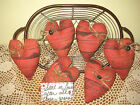 6 Red Barn fabric hearts bowl fillers Country Handmade Farmhouse Home Decor