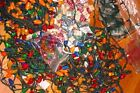Large Lot Miniature Christmas Lights Vintage Multi Color Strings Faceted Covers
