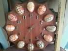 Vintage Ukrainian Decorative Art Easter Egg Clock, real eggs,hand made in Canada