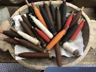 ANTIQUE VINTAGE WOOD SPINDLES SPOOLS BOBBINS THREAD YARN LOT OF 25