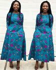 Women Floral Print 3/4 Sleeve veroex African Lady party  Dress