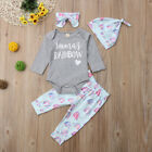 US Newborn Baby Girl Princess Clothes Romper Tops+Pants Hat 4pcs Rainbow Outfits