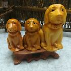 3pieces Solid Wood Wooden Puppy ORNAMENT Carving + doghouse