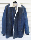 Vintage Lee Denim Storm Rider Sherpa Lined Jean Jacket Long Coat Mens M L
