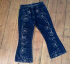 VINTAGE 90s FALMER RETRO HIPPIE BOHO EMBROIDERED FLARE BOOTCUT JEANS 16 18