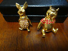 2 Disney Winnie the Pooh Rhinestone Pooh & Piglet Articulated Jointed Pins NEW