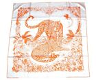 Hermes Scarf Jungle Love by Robert Dallet Silk 90 cm Orange Animal Leopard RA320