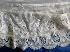 ANTIQUE FINELY EMBROIDERED COTTON NET LACE PETTICOAT/DRESS EDGING~TRIM~64