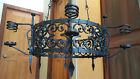 Huge antique Spanish / Gothic Revival hand forged iron chandelier