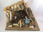 Vintage 8 Piece Italy Nativity Set Plastic Figures Wooden Manger