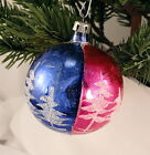 Vintage Poland Glass Ball With Mica Evergreen Trees Christmas Ornament Bulb