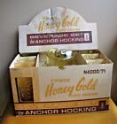 Vintage NOS NEW Anchor Hocking HONEY GOLD LIDO Pitcher 6 Tumblers Set in BOX