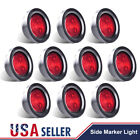 """10PC Red 2.5"""" Round 4 LED Light Truck Trailer Signal Side Marker Clearance 12V"""