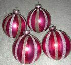 4 Vintage West Germany Bright Pink  Mica Striped 3 Christmas Ball Ornaments
