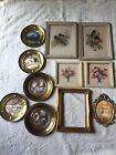 Vintage Wood Picture Frames/pictures1 Gold Gilt-Lithographs-Tin Foil Wall Plates