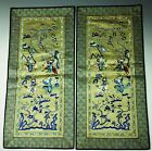 Pair of Vintage Chinese Silk Embroidery War Character Panels-20th Century