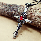 Fashion Personality Stainless Steel Red Crystal Cross pendants necklacee DZ117