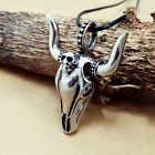 Fashion Personality Stainless Steel Silver cow SkuDZ pendants necklacee DZ95