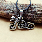 Fashion Stainless Steel Silver Undead motorcycle pendants necklacee DZ111