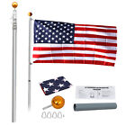 20Ft Aluminum Telescopic Flagpole Kit Telescoping W 3x5 US American Flag Kit