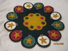 Primitive Christmas Holiday Ornaments Stars Wool Scalloped Penny Rug Candle Mat