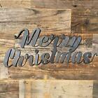 Rustic Home Merry Christmas Sign 20 x 8 Farmhouse Metal Words Decor Holiday