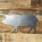 Rustic Home Pig Silhouette Sign 14 x 7 Farmhouse Metal Words Kitchen Wall Decor